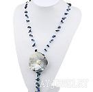 蓝纹石贝壳项链毛衣链