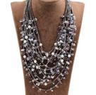 灰色系珍珠水晶15层项链