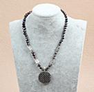 染色珍珠藏银花项链