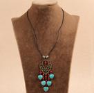 复古松石珊瑚皮绳项链