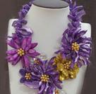 紫色贝壳花朵项链