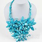 湖蓝色珍珠贝壳花项链