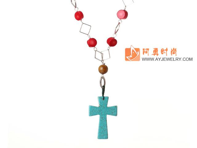 松石珊瑚项链 配松石十字架