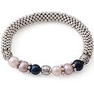 黑白天然紫珍珠手链