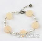 珍珠黄玉雕刻花手链