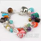 七彩杂石水晶珍珠手链