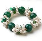 天然白珍珠绿玛瑙弹力手链