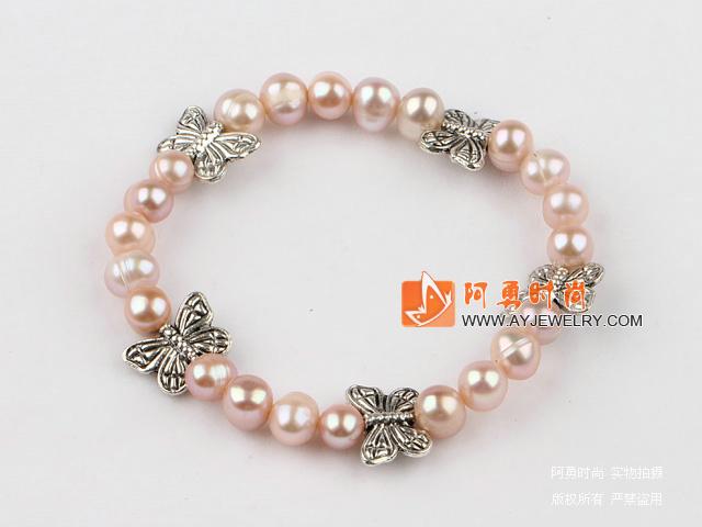 天然紫珍珠手链