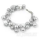 灰色海贝珠水晶手链