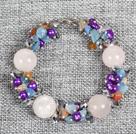 芙蓉石珍珠水晶耳环手链