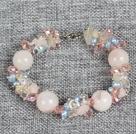 芙蓉石珍珠蓝矿水晶手链