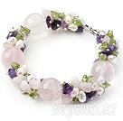 紫晶粉晶橄榄石手链