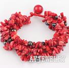 黑珍珠红珊瑚手链