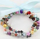 彩色珍珠杂石手链