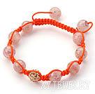 浅色草莓晶水钻球编织手链