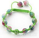 西瓜玉髓水钻球手链 单层编织绳款