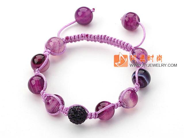 紫色条纹玛瑙水钻球手链 单层编织绳款