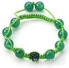 绿水钻球玛瑙手链 单层编织绳款