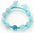蓝玉水钻球手链 单层编织绳款