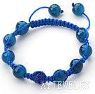 刻面蓝玛瑙水钻球手链 单层编织绳款