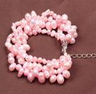 粉色珍珠多层手链