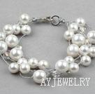 白色海贝珠水晶手链