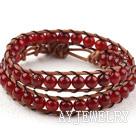 红玛瑙牛皮绳编织手链