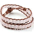 芙蓉石牛皮绳编织手链