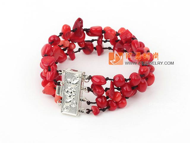 红珊瑚手链(4排花插扣)