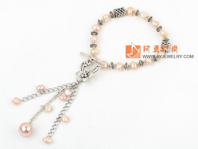 天然粉珍珠手链