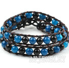 黑蓝玛瑙牛皮绳编织手链