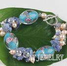 珍珠水晶蓝矿石琉璃手链