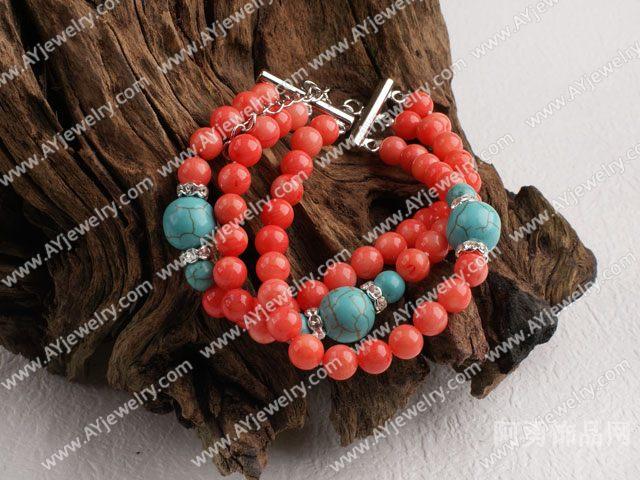 珊瑚松石三排手链