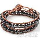 黑胆石牛皮绳编织手链