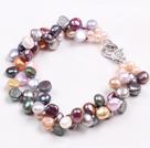 偏孔彩色珍珠手链