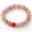 浅色草莓晶钻球手链 单圈圆珠弹力线款