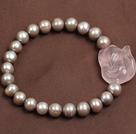 灰珍珠粉晶小狐狸弹力手链