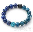 蓝晶石青金石钻求手链 单圈圆珠弹力线款