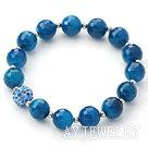 刻面蓝玛瑙金属珠水钻球手链 单圈圆珠弹力线款