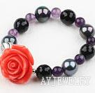 海贝珠紫晶黑玛瑙弹力手环