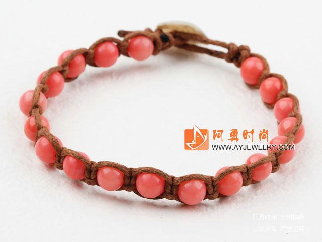 粉珊瑚编织手链