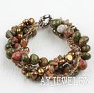 花绿石珍珠水晶手链