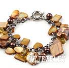 棕色珍珠水晶贝壳手链 合金链charm款