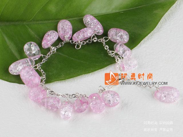 绒布绳款 紫晶手链 异形圆角紫水晶手环 时尚水晶天鹅绒丝带编制手链