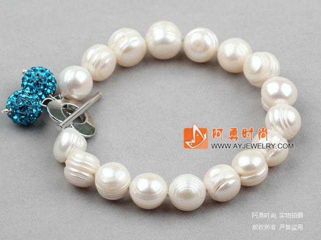 白色螺纹珍珠钻球手链