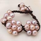 天然粉珍珠手链 皮绳编织款