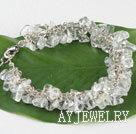 白水晶碎石手链 合金链charm款