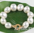 白色扁椭圆海贝珠手链