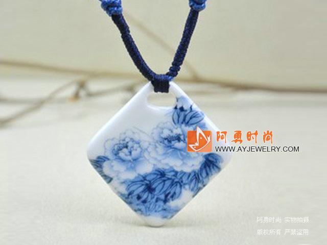 青花瓷手绘牡丹吊坠项链 - 编号:c139