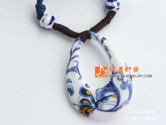 水滴型青花瓷手绘吊坠项链-饰品-饰品批发-编号c144
